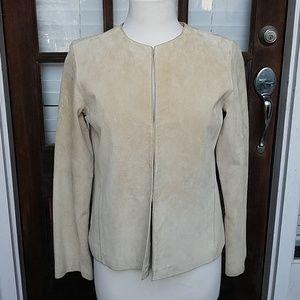 Merona Cream 100% Leather Suede Chic Jacket Blazer